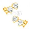 Fülbevaló 14K sárga aranyból - cirkóniákkal díszített két szabályos szív