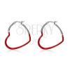 Acél fülbevaló, piros szimmetrikus fénymázas szívkörvonal