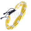 Színes kötött karkötő - sárga-fehér színű hullámok zsinórokból