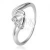 925 ezüst gyűrű, három, átlátszó cirkónia, viharos hullámok