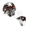 Méretes acél gyűrű - koponya, fekete fénymáz, piros szemek