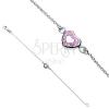 Karlánc ezüstből - rózsaszín szívecske cirkonkövekkel