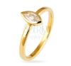 Gyűrű 925 ezüstből - kiemelkedő cirkónia búzaszem fogatban, arany árnyalat gyűrű
