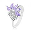 Fényes ezüst színű gyűrű, átlátszó cirkóniák, világoslila csiszolt szemek
