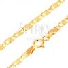 Karkötő 14K sárga aranyból, nagyobb lapos elemek sugaras vésetekkel, 200 mm