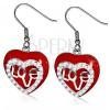 Fülbevaló sebészeti acélból - függő piros szív, átlátszó cirkóniák