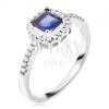 Gyűrű 925 ezüstből, kék négyzetes kő, cirkóniás szegély