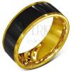 Gyűrű sebészeti acélból - sima, fekete karika, arany színű szegély