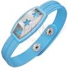 Kék karkötő gumiból - csillagokkal a fémtáblán