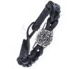 Fonott karkötő fekete színű bőrből - kelta nap motívum