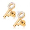 Beszúrós fülbevaló, arany színű kulcs átlátszó cirkóniákkal