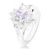 Ezüst színű gyűrű osztott szárakkal, lila-átlátszó virág