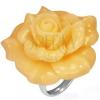 Acél gyűrű - sárga kinyílt rózsa, gyantakő