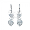 Fülbevaló 925 ezüstből - cirkónia szívek kelta csomóval