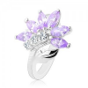 Csillogó ezüst színű gyűrű, világoslila-átlátszó cirkóniás virág, fényes levél