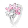 Gyűrű fényes osztott szárakkal, rózsaszín-átlátszó fél virág