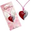 Zsinóros nyaklánc piros, szív alakú medállal és szárnnyal