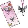 Rózsaszín madzag és fém medál, álló pillangó tündér