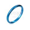Tungsten gyűrű - sima, kék karika, legömbölyített, 2 mm