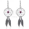 Függő fülbevaló 925 ezüstből - kerek álomfogó, lila gyöngy