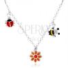 925 ezüst nyakék gyerekeknek, színes katica, virág, méhecske