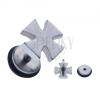Hamis acél piercing fülbe - ezüst színű máltai kereszt
