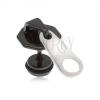 Fekete fake plug fülbe acélból, cipzár fehér nyelvvel, PVD kezelés