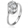 Cirkóniás gyűrű, elipszis körvonal, három, átlátszó, csiszolt kő, 925 ezüst
