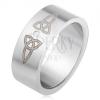Matt egyenes karikagyűrű 316L acélból, átlátszó kő, kelta szimbólumok