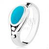 925 ezüst gyűrű, türkiz ovális, fényes szélek, három golyó
