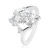 Csillogó ezüst színű gyűrű, átlátszó csiszolt szemek, kerek cirkóniák