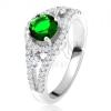 Gyűrű - 925 ezüst, kerek zöld cirkónia, lekerekített vonalak, átlátszó kövek