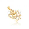 Medál 14K sárga aranyból - angyal körvonal, átlátszó kerek cirkóniák