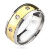 Titánium gyűrű - kétszínű, cirkóniákkal
