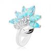 Ezüst színű gyűrű, átlátszó virág kék cirkóniákból, fényes levél