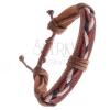 Karamellbarna bőrkarkötő - háromszínű fonattal