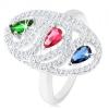 925 ezüst gyűrű, ovális kontúr cirkóniából, színes, csiszolt könnycseppekkel