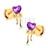 Fülbevaló 14K sárga aranyból, lila szívecske ametisztből, fényes masni