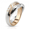 Kettős acél gyűrű - ezüst színű karikák, cirkónia, Love felirat