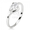 Gyűrű 925 ezüstből, csiszolt átlátszó kő - csepp