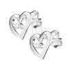 Ezüst fülbevaló - szabálytalan szívkeret cirkóniával
