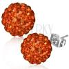 Fülbevaló acélból - narancs színű Shamballa golyó, csiszolt, kövek