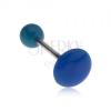 Kék piercing nyelvbe, fényes, sima felülettel, kör