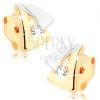Fülbevaló 9K sárga aranyból - kétszínű háromszög körvonal, átlátszó cirkónia