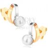 Ródiumozott fülbevaló 9K aranyból - kétszínű félholdak, fehér gyöngy