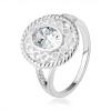 925 ezüst gyűrű, szélesebb kontúr infinity szimbólumokkal, ovális átlátszó cirkónia