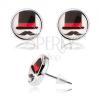 Bedugós cabochon fülbevaló, átlátszó fénymáz, cilinder és bajusz, fehér háttér
