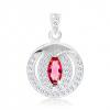 Medál 925 ezüstből, rózsaszín cirkóniás magszem, kettős keret, átlátszó cirkóniák