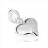 925 ezüst medál, szimmetrikus szív, sima fényes felület