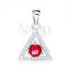 Medál 925 ezüstből, háromszög körvonal - átlátszó cirkóniák, kerek piros kő
